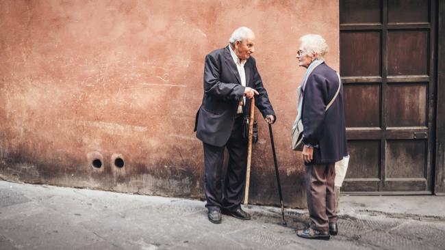 older couple having a conversation