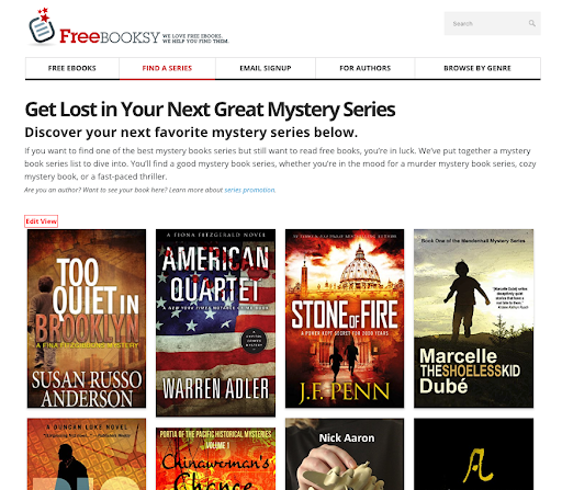 ​Example of Series Discovery section on Website