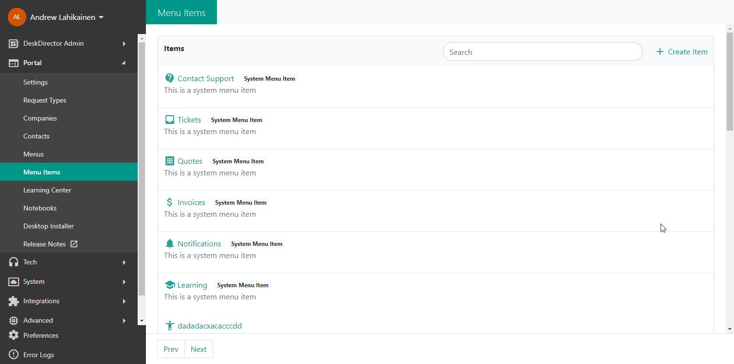 Screenshot showing the list of menu items