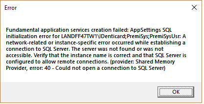 Error - Fundamental application services creation failed
