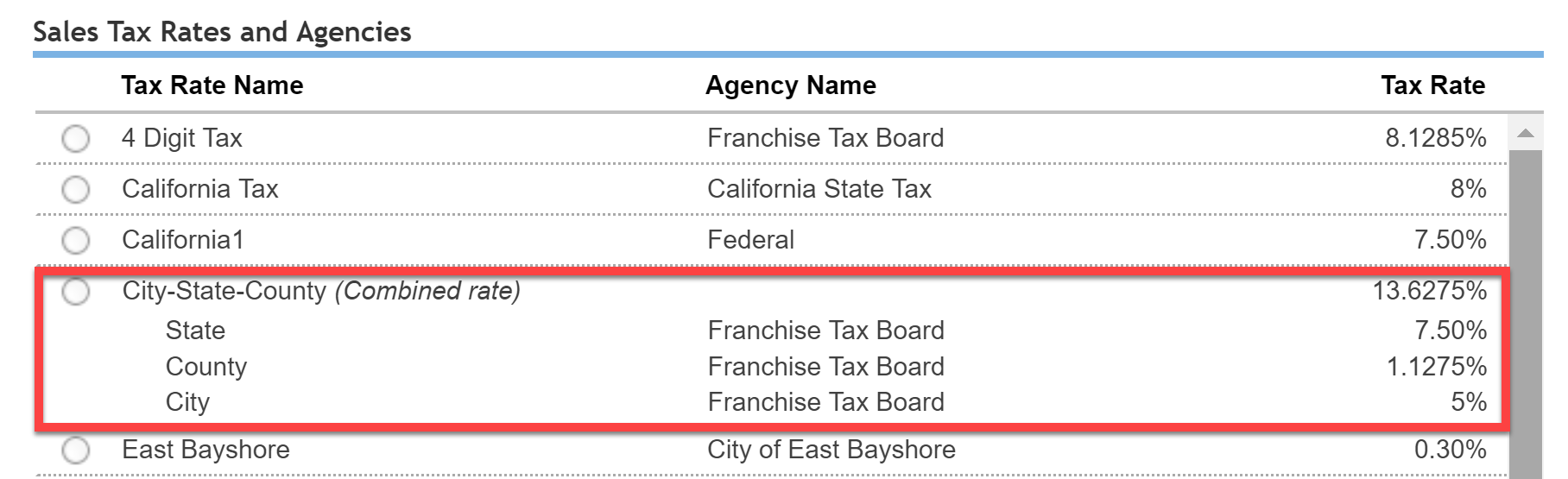 Sales Tax Groups and Combined Tax Rates - shopVOX Help