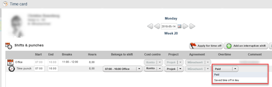 Staff Portal - Choose to Have Overtime Paid or Saved as Time