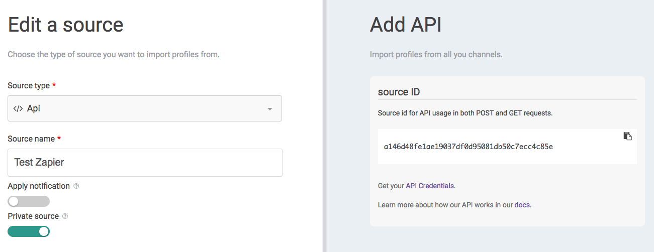 How to set up the Zapier Integration for Sources