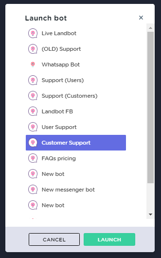 OLD BUILDER - Bot Launcher - Landbot Help