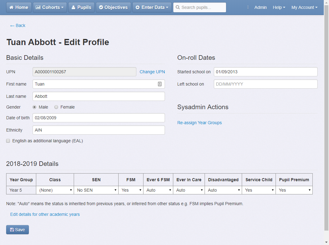 Pupil profile editor