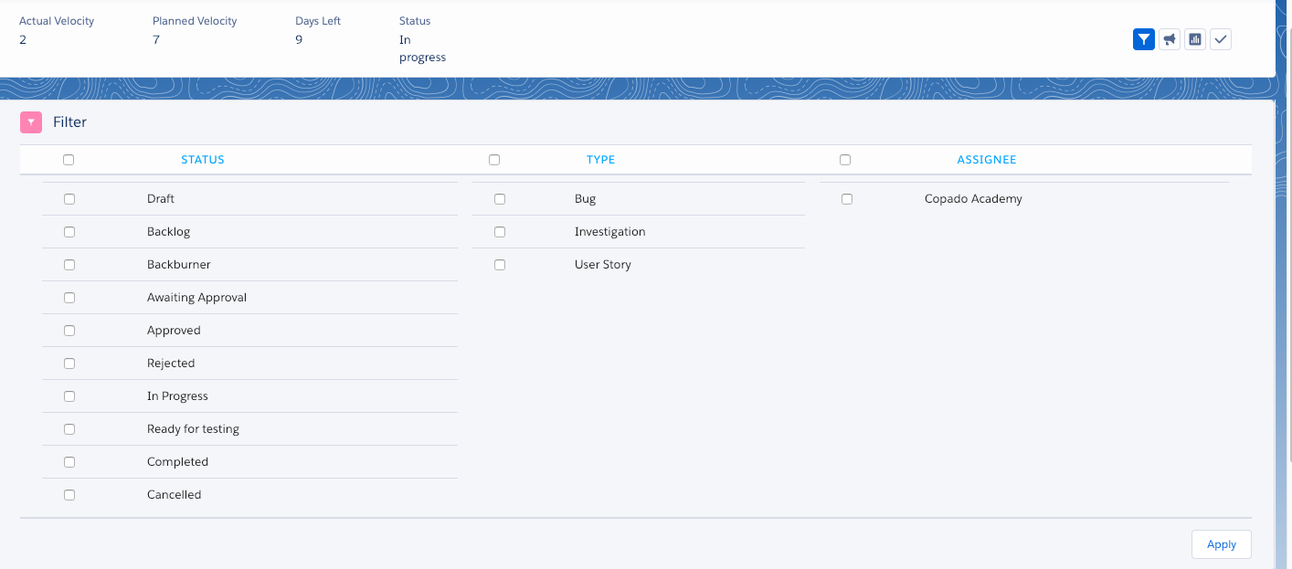 Sprint Wall (Old UI) - Copado Solutions Documentation