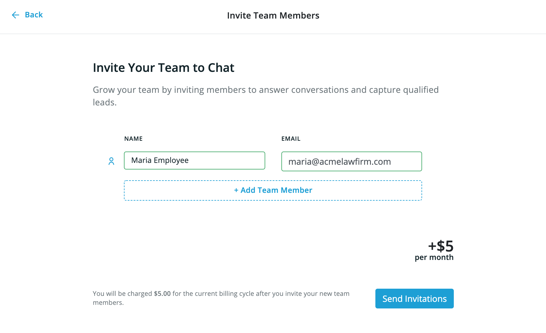 "On the Smith.ai Web Chat dashboard, the ""Invite Your Team to Chat"" page with a name and email field filled out."