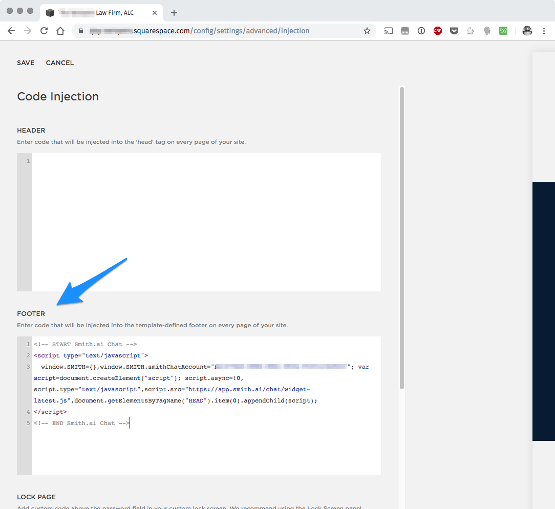 Installing Smith ai Web Chat on a Squarespace Website