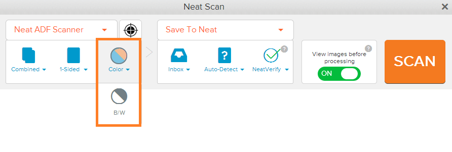 Neat Lightweight App select scan color - step 2