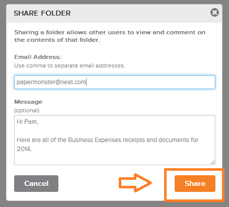 Neat Lightweight App Share folders - Step 2