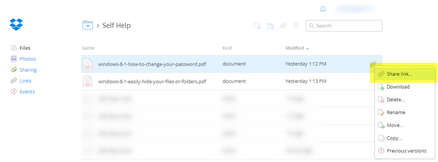 Right click the file you want to share in Dropbox and select Share Link