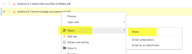 Right click the file you want to share in Google Drive and select Share