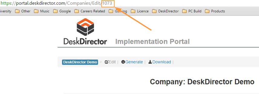 Your DeskDirector Portal ID