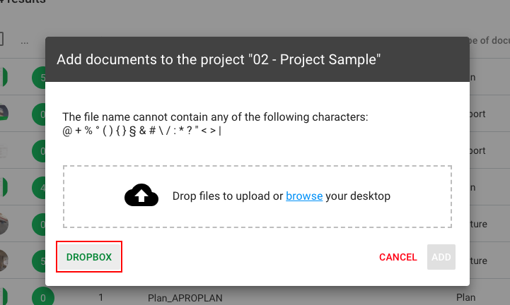 How to import documents from Dropbox ? - Web Version