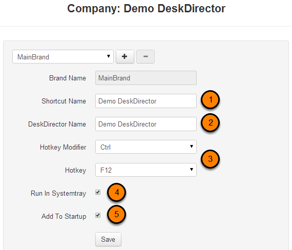 Edit your DeskDirector name and startup settings