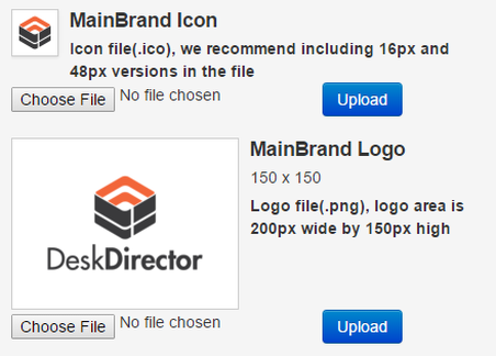 Uploading an icon and logo
