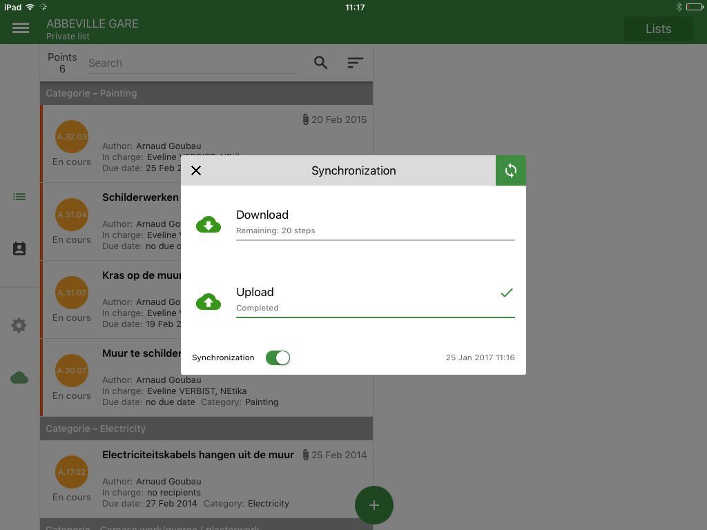 How can I synchronise my data ? - Version iOS & Android - APROPLAN