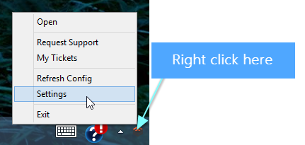 Right click the DeskDirector tray icon and select settings