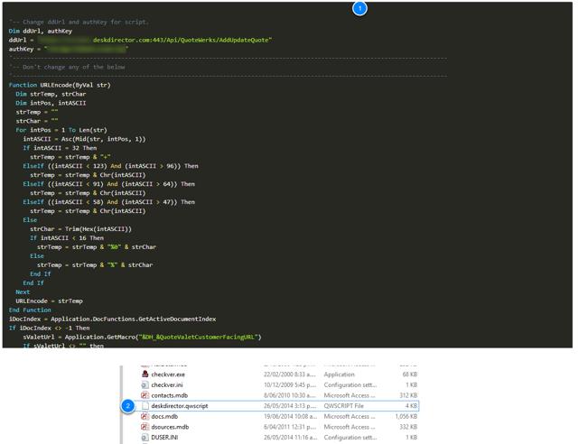 Select and copy the script to deskdirector.qwscript