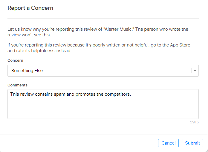 appfollow help center how to report a concern in google play and
