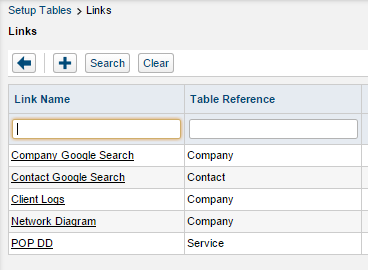 Open the Links setup table