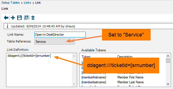 Create a new link based on the Service Table