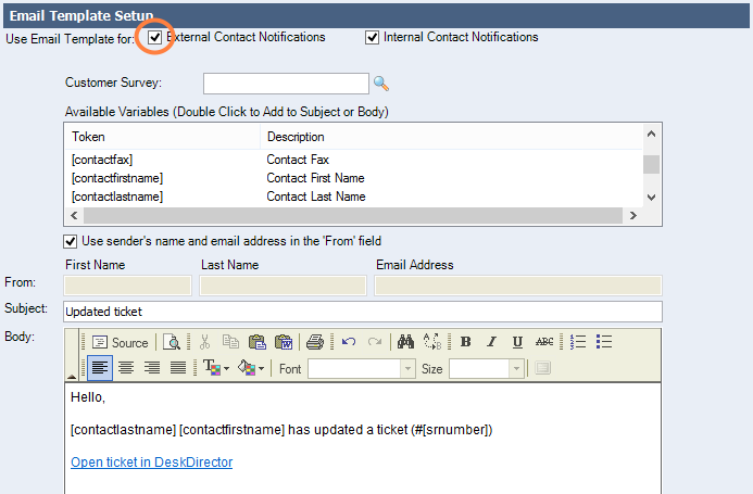 Enable External Contact Notifications