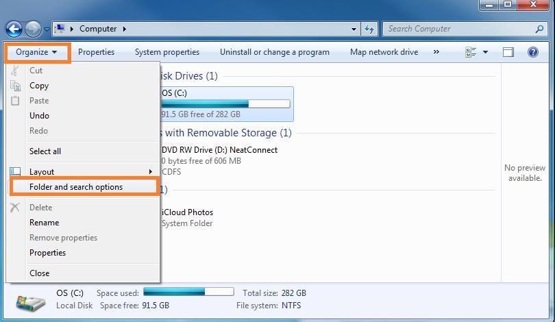 windows 7 folder options