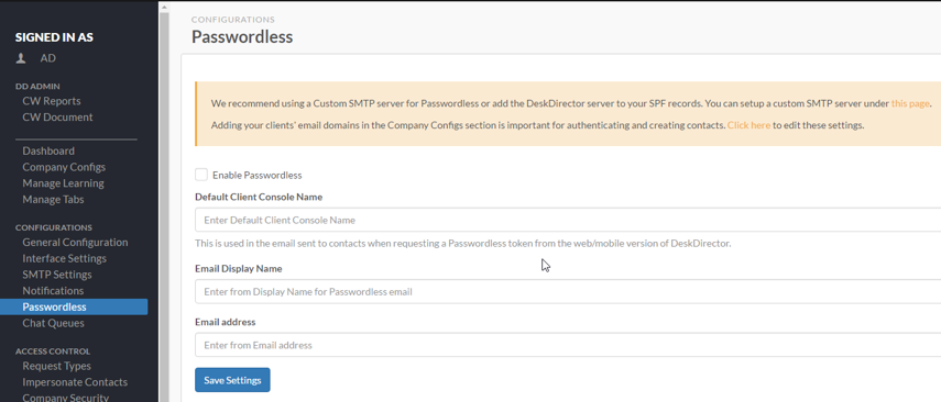 1. Enable Passwordless in the Admin Console