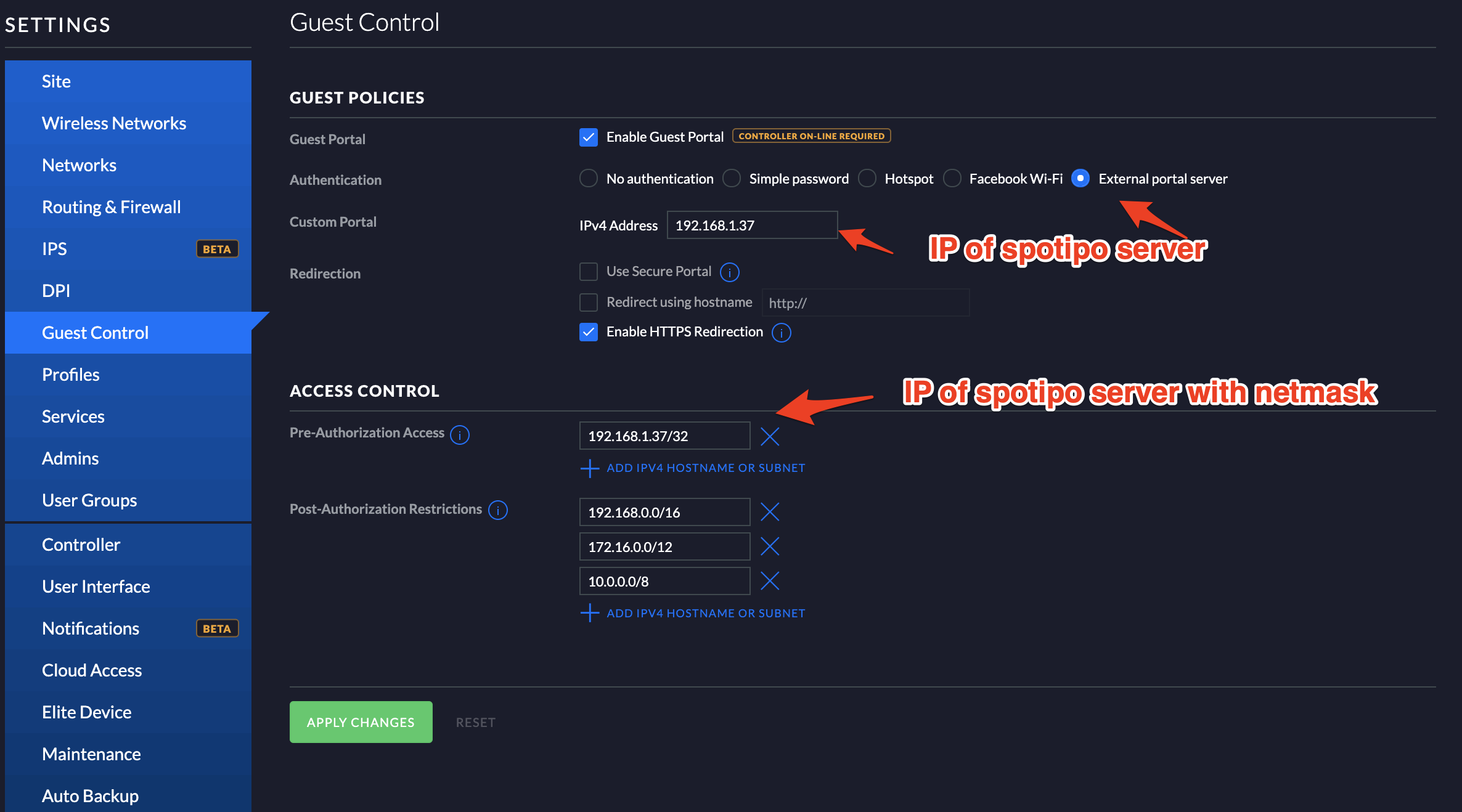 How to configure Unifi controller with self hosted Spotipo