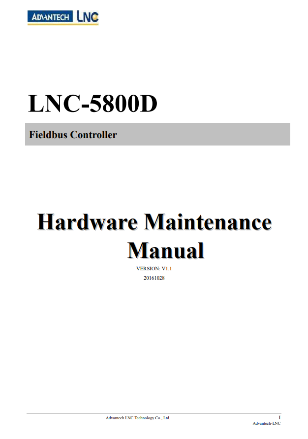 LNC Fieldbus Controller - Hardware Maintenance Manual (PDF)