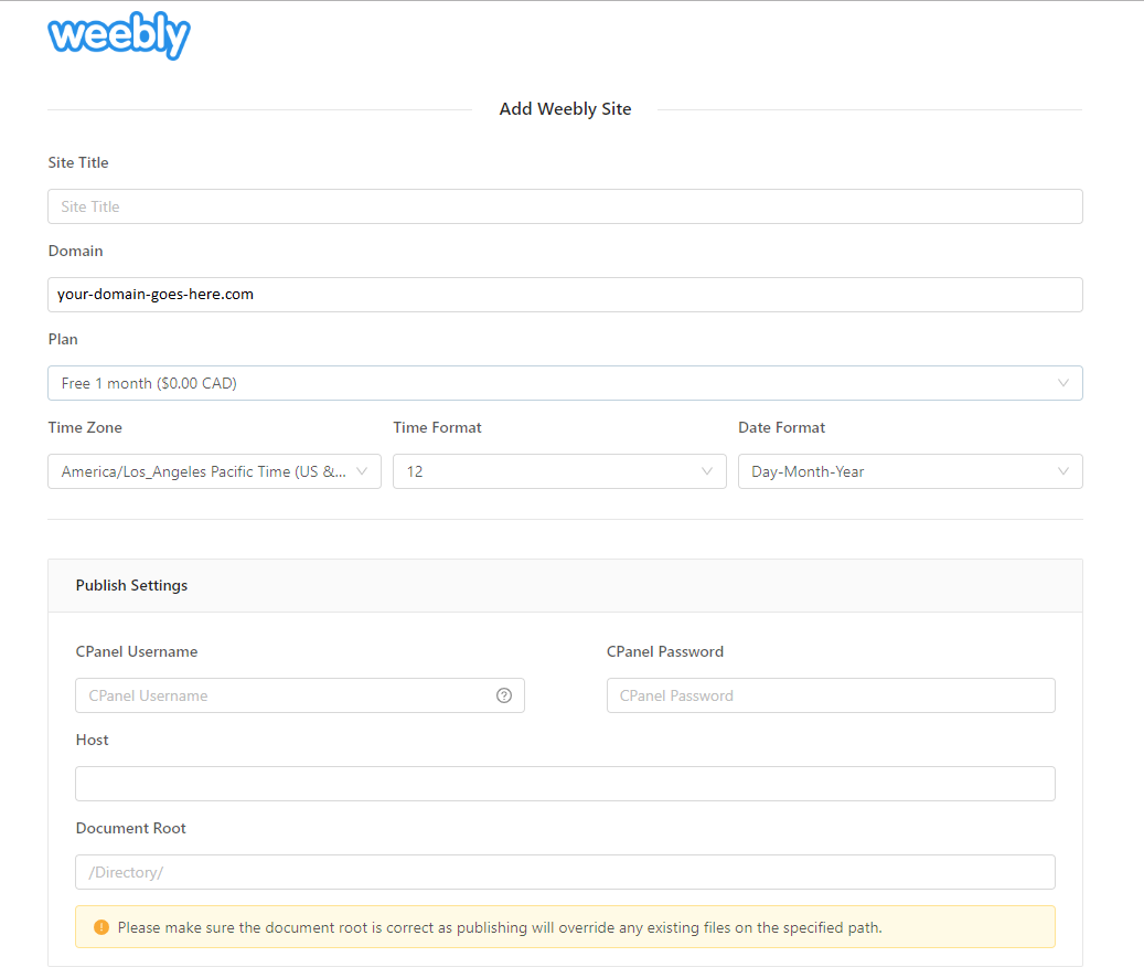 Weebly site details