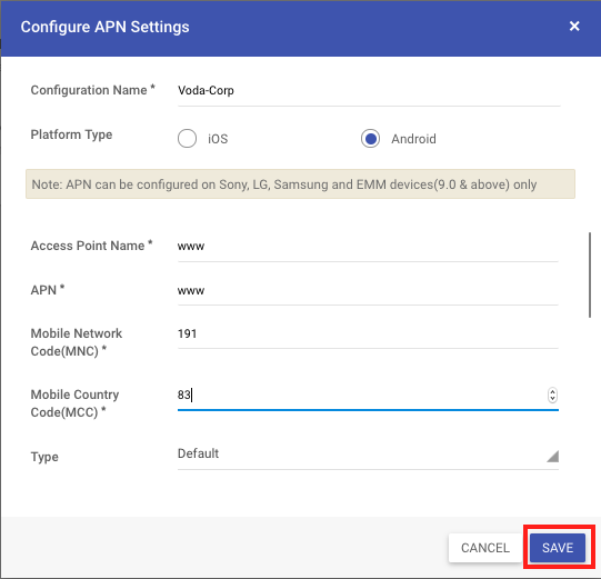 Configure Access Point Name for Android Devices - MobiLock