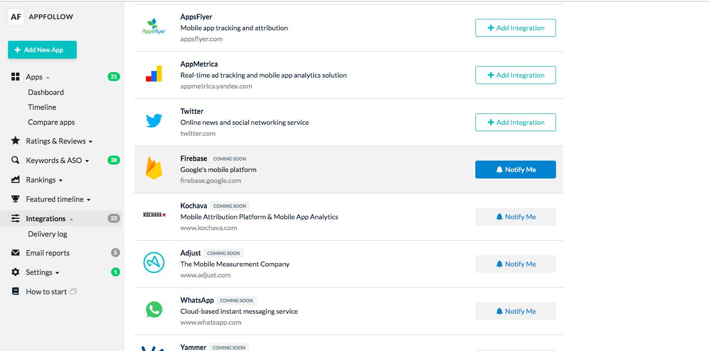 All integrations - AppFollow Help Center