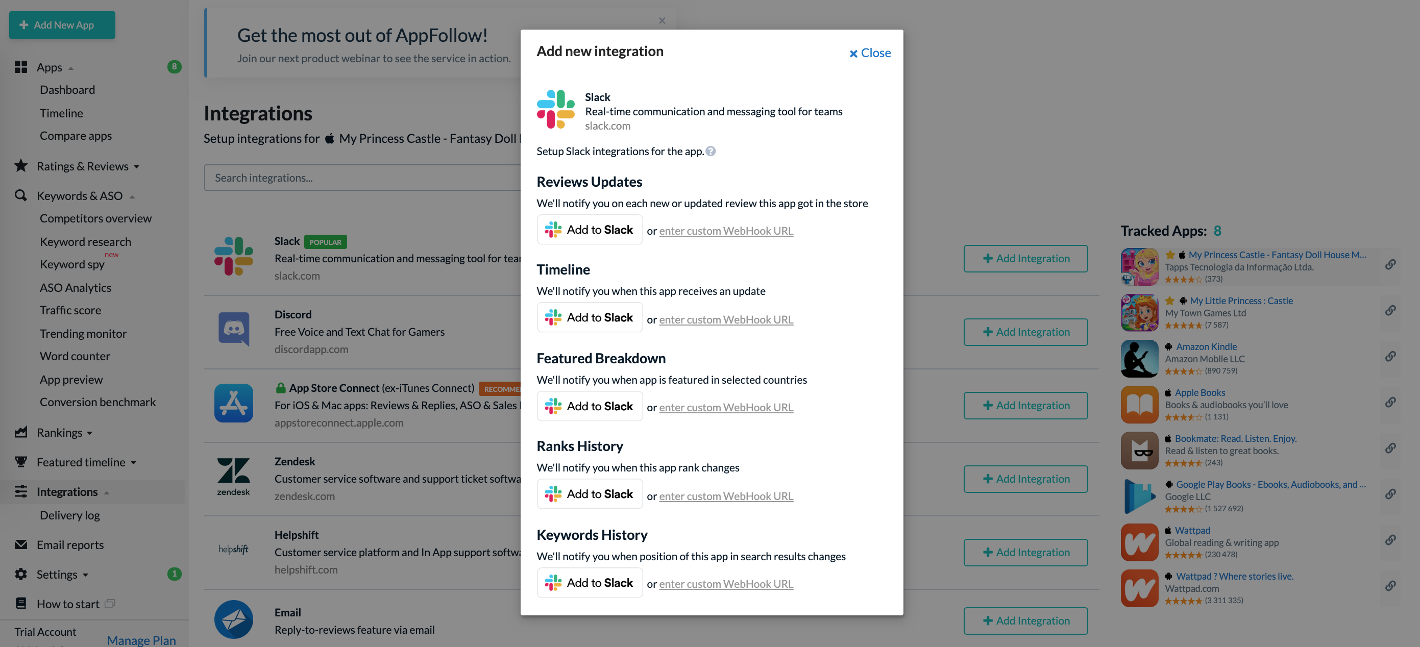 Slack integration: monitor app activity and reply to reviews