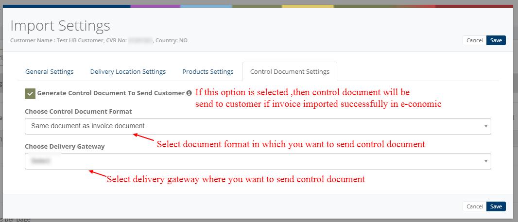 Import settings - Control document settings