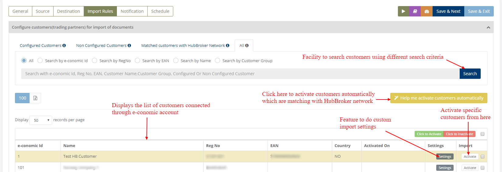 Import Rules - Activation of customers