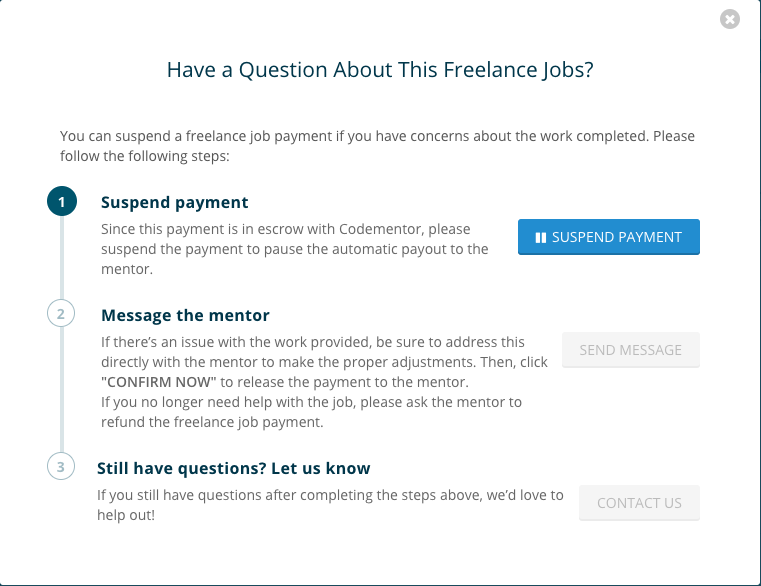 How do I suspend the payment for freelance jobs