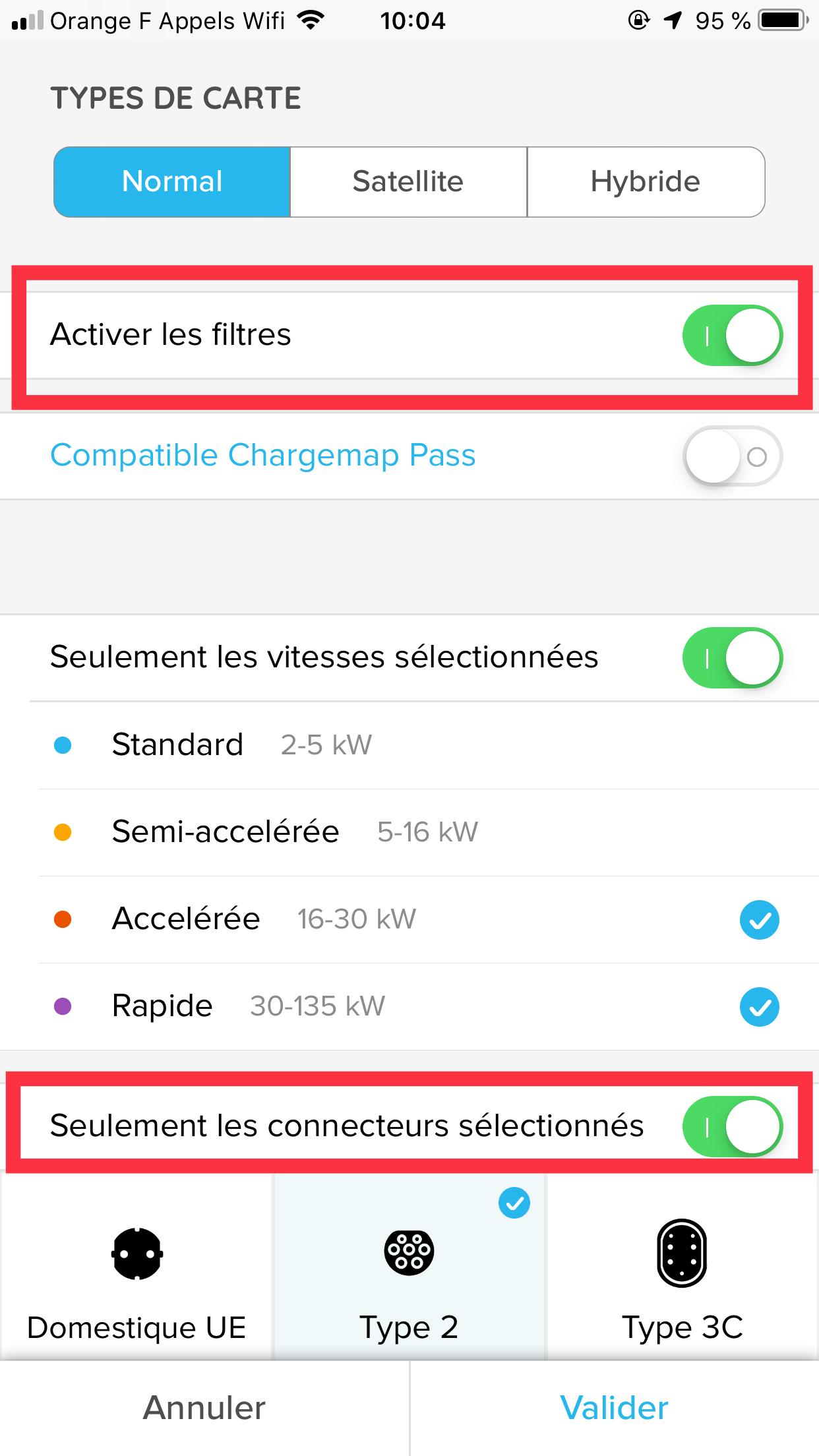 """Activer les filtres et """"selon les connecteurs""""."""