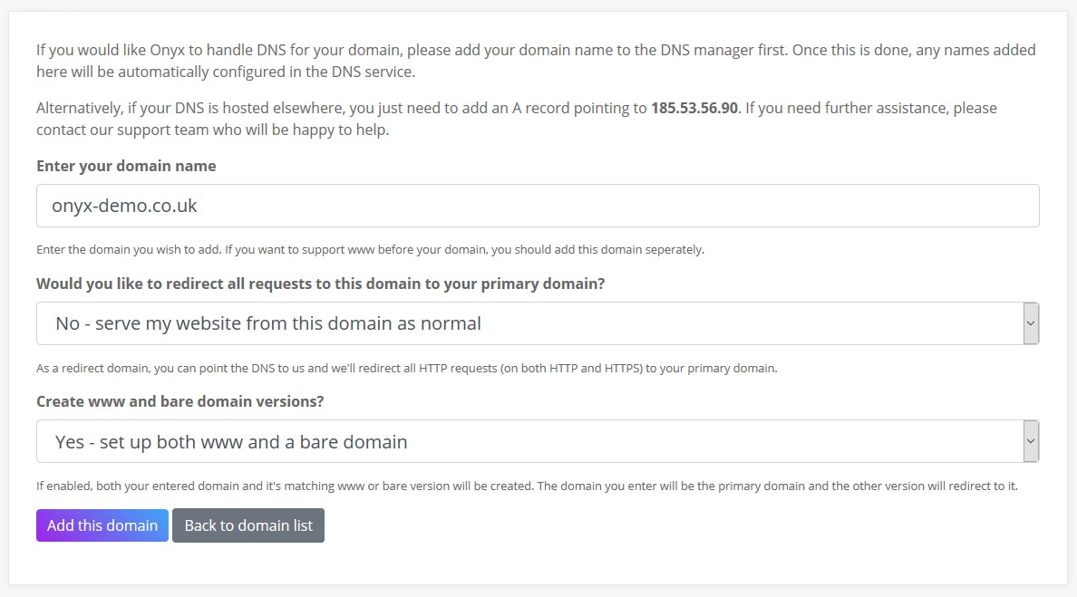 Connecting a domain to Onyx - Onyx io