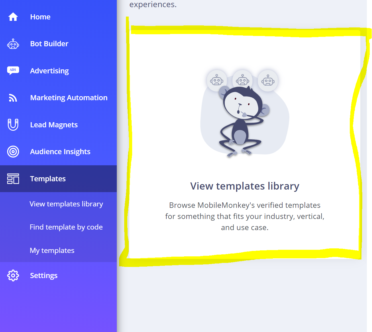 Examples of Free MobileMonkey Chatbot Templates - HelpDocs