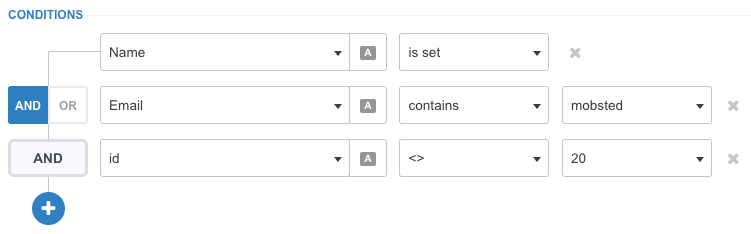 The view of the condition filter set up on Mobsted Multichannel PWA platform
