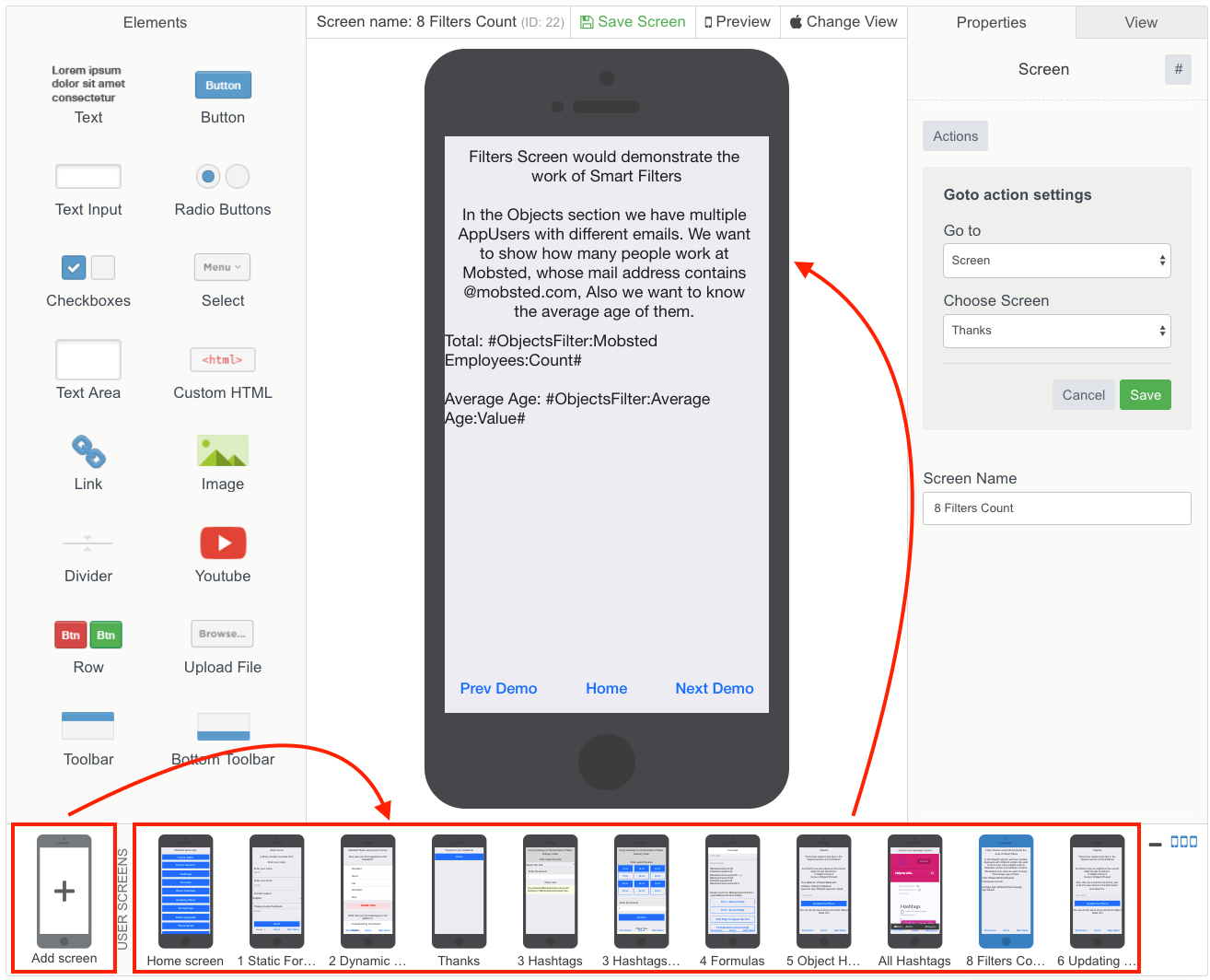 The process of adding new screen in the Constructor / builder on Mobsted multichannel Pwa making platform