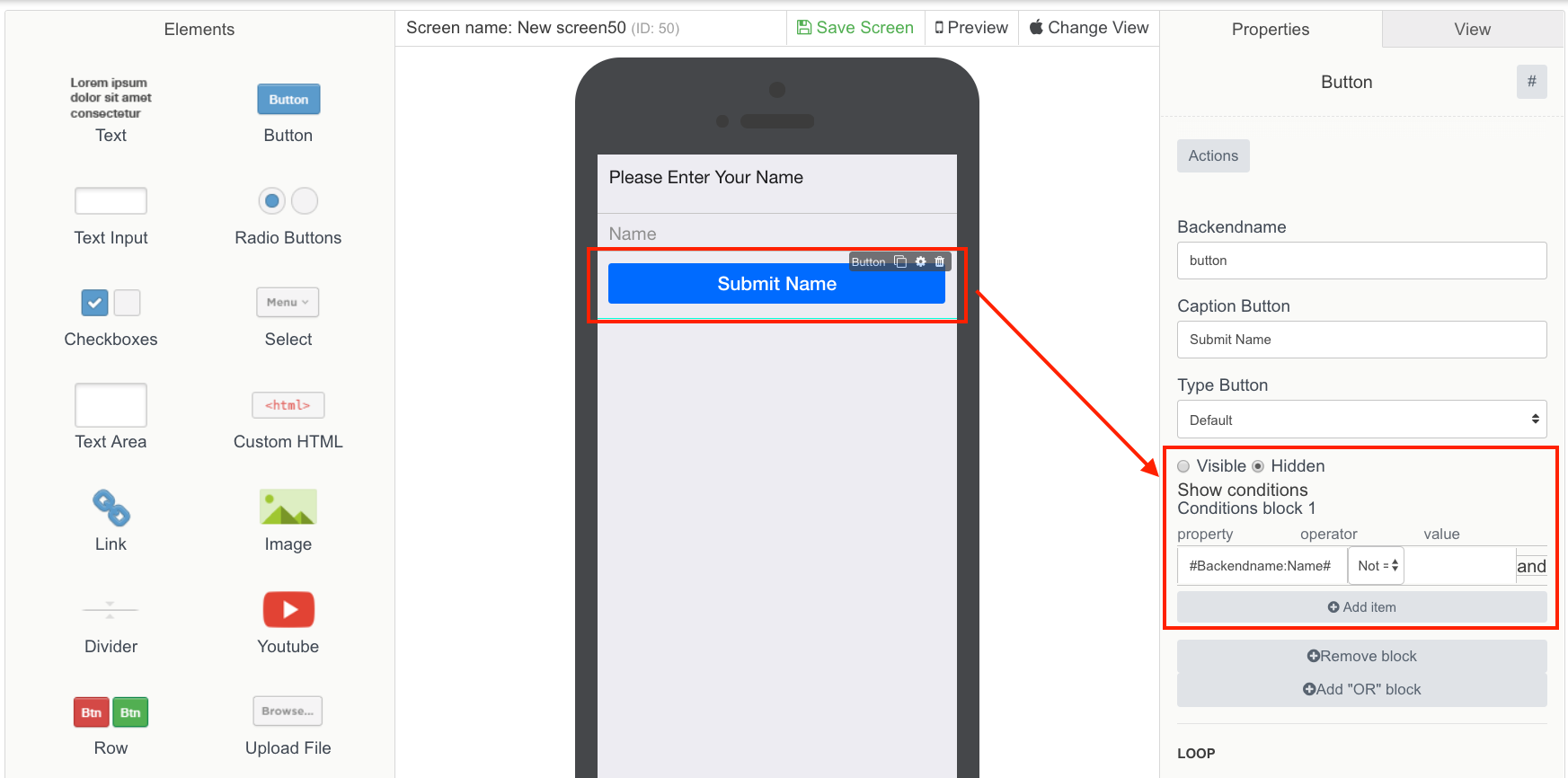 the Screenshot shows how to hide the button element in Mobsted Multichannel PWA application builder