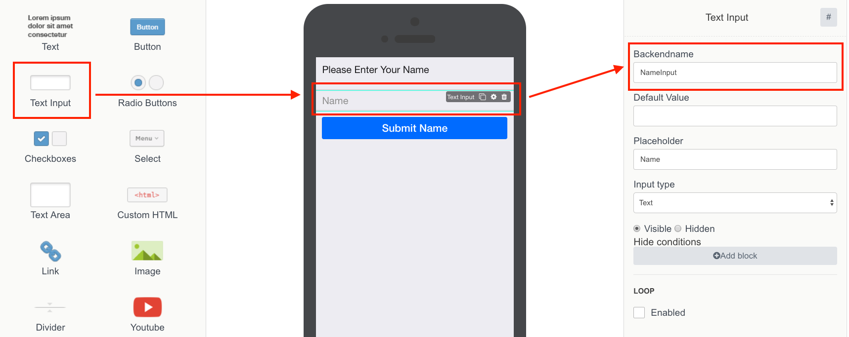 the Screenshot shows the proccess of adding Text input to the screen in Mobsted Multichannel PWA application builder