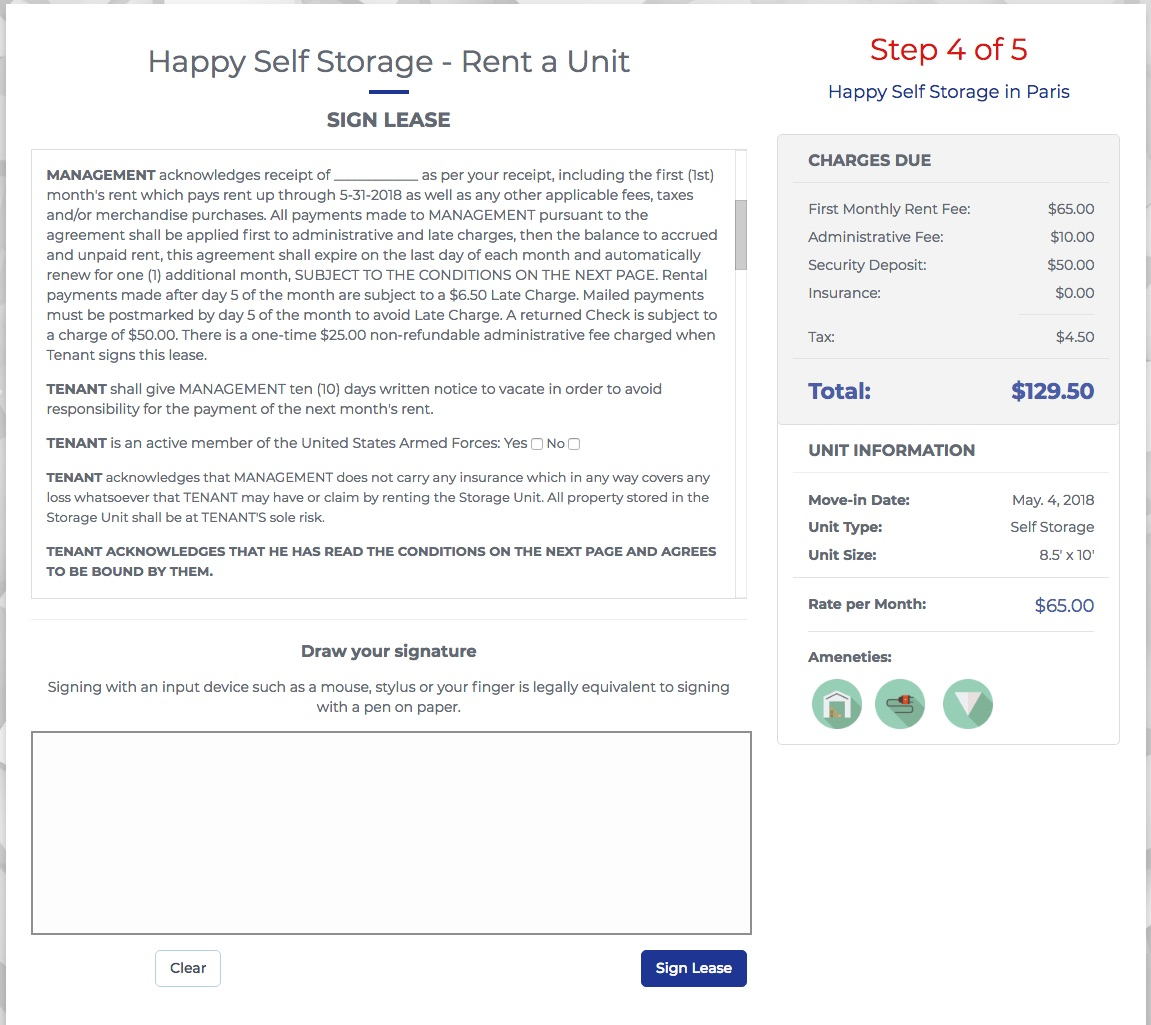 StoragePug's online lease signing with PugSign