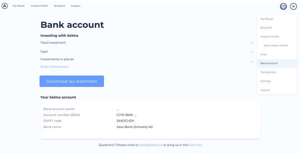 Screenshot of Selma Bank account -view