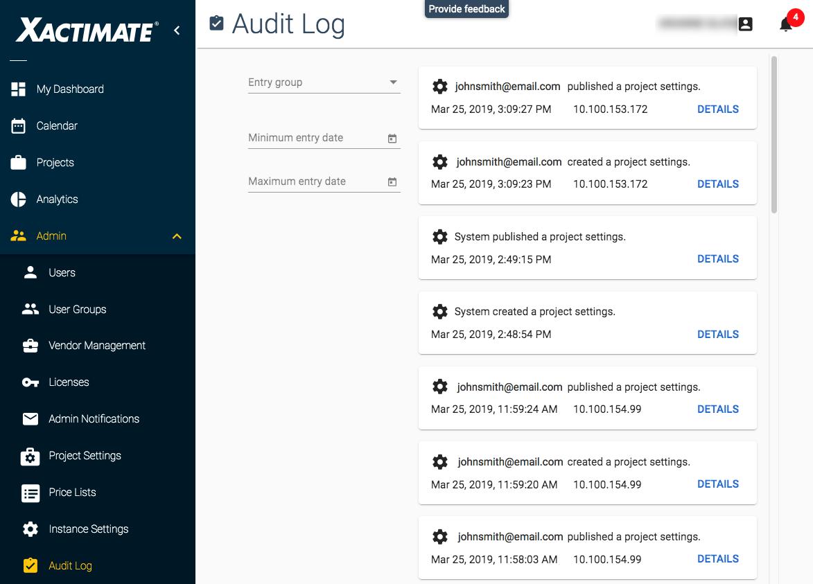 Audit Log - Xactware help