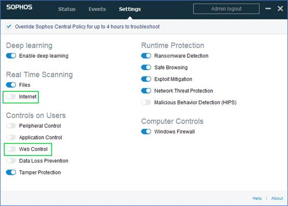 Using Web Security with Sophos - Help :: Unified Security Service