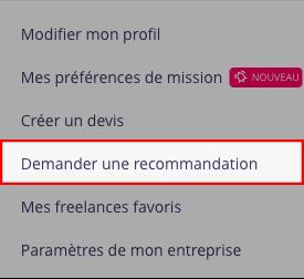 Demande de recommandation